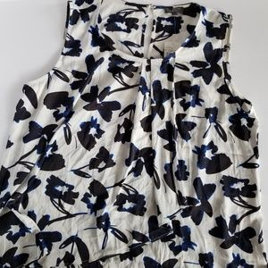The Limited Floral Asymmetrical Ruffle Tank Blouse